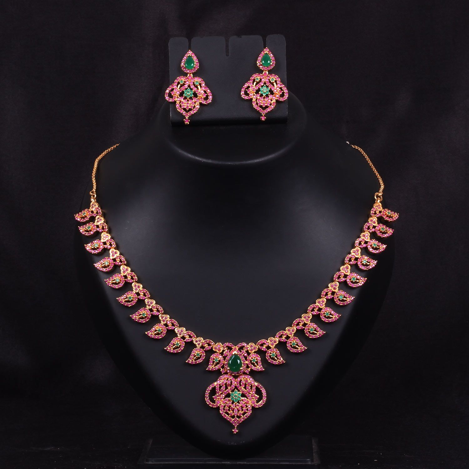 Necklace Pure Ruby And Emerald Wj0240 Bridal Jewellery