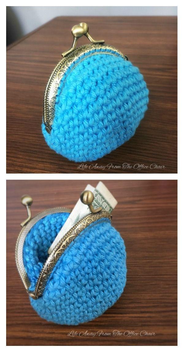 Crocheted Coin Purse Free Patterns | Häkelmuster, Körbchen und Häkeln