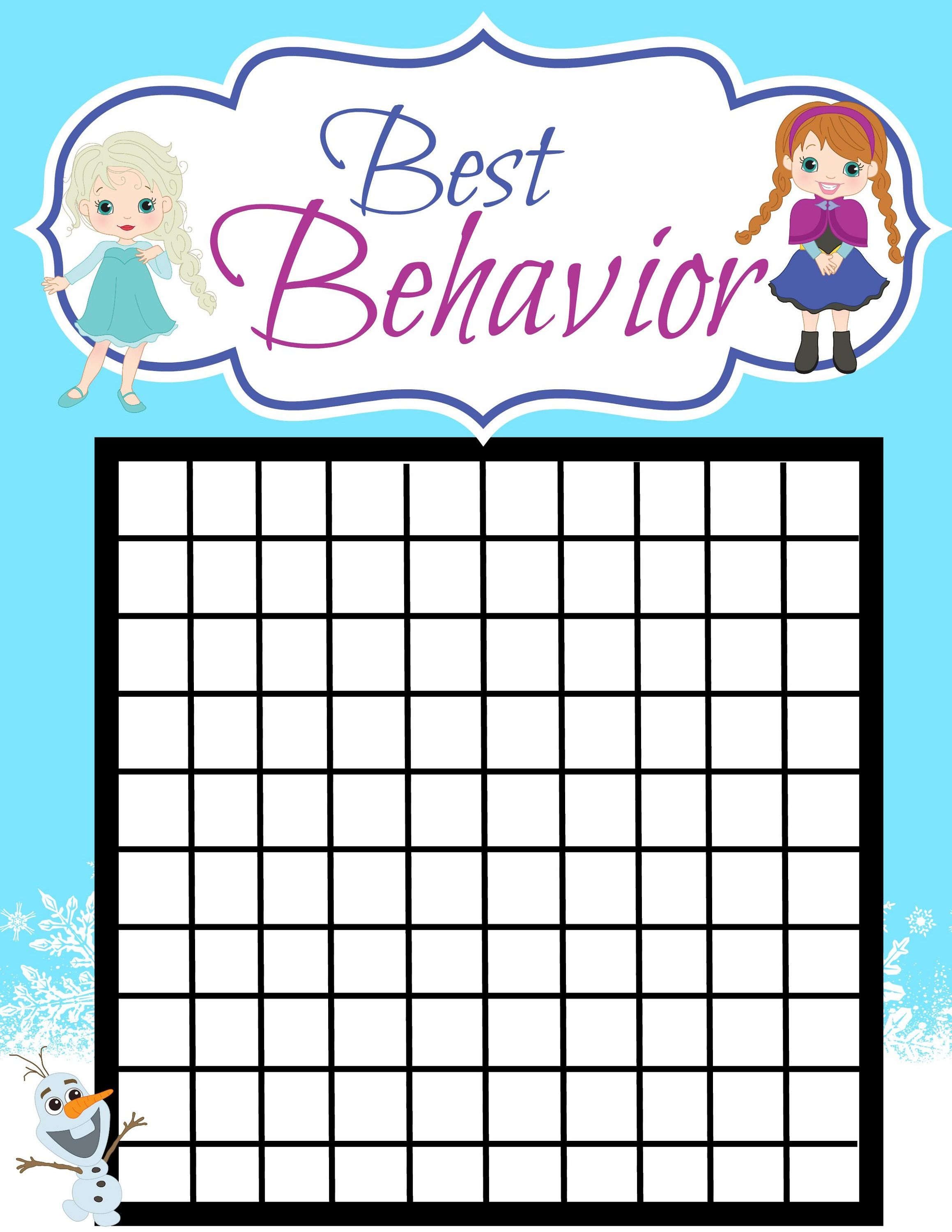 The Best Printable Behavior Reward Chart