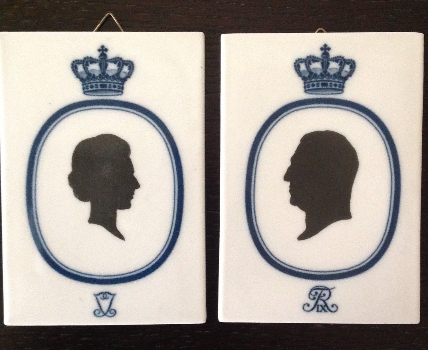 Pair of Vintage Royal Copenhagen Porcelain Wall Hangings Danish Royalty Silhouettes by aniadesigns on Etsy