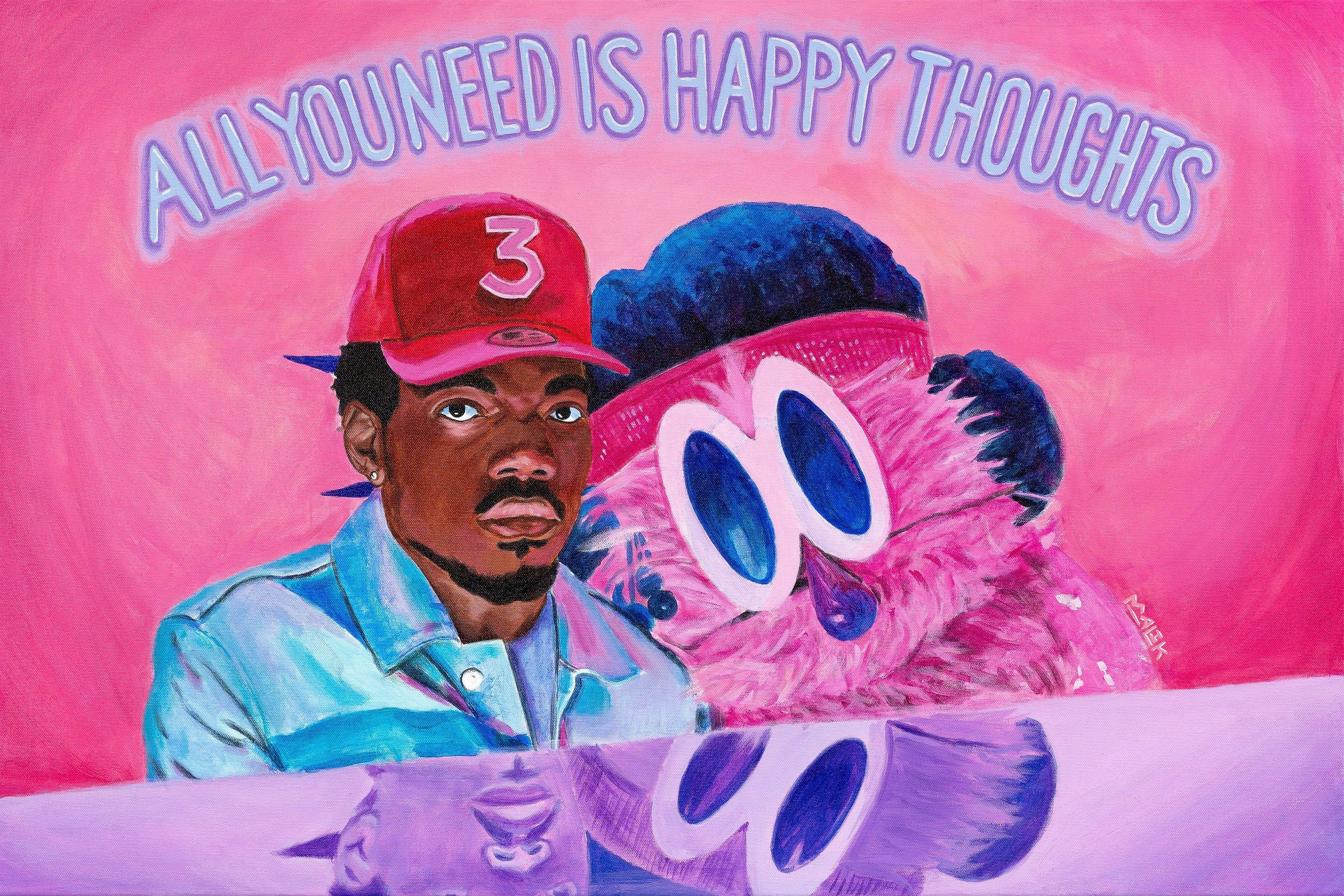 Chance The Rapper Happy Thoughts Original Painting Etsy