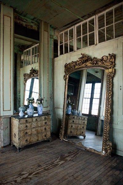 wooden floor, big old french mirror, distressed dresser, Dream ...