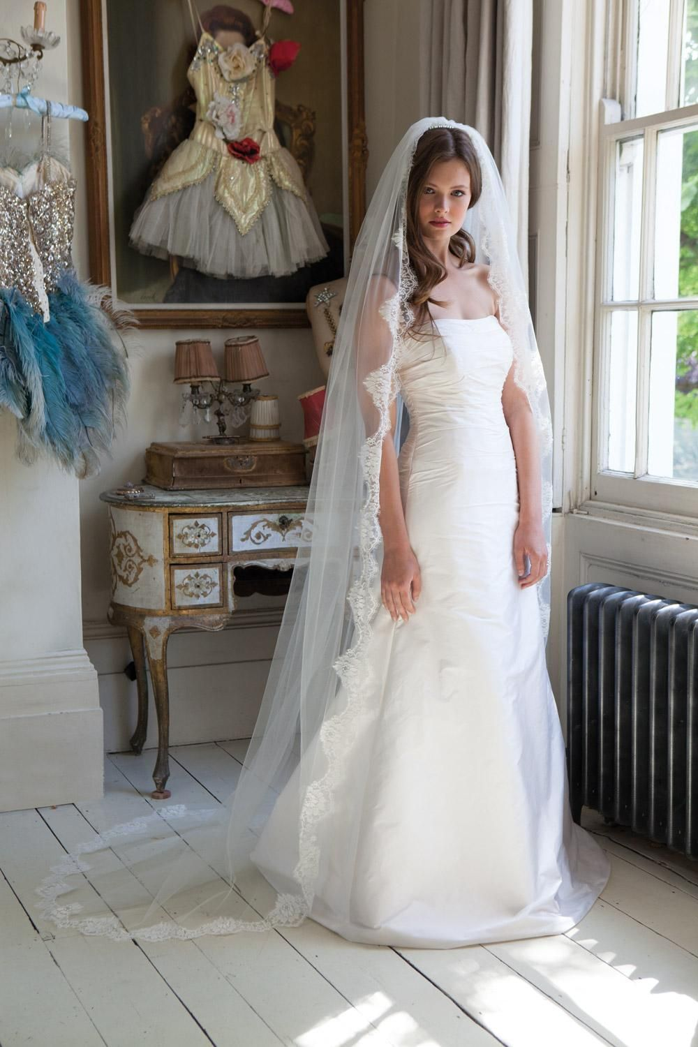 Long veil wedding dresses  Pin by Jackie McLoughlin on Bridal Veils u Headpieces  Pinterest