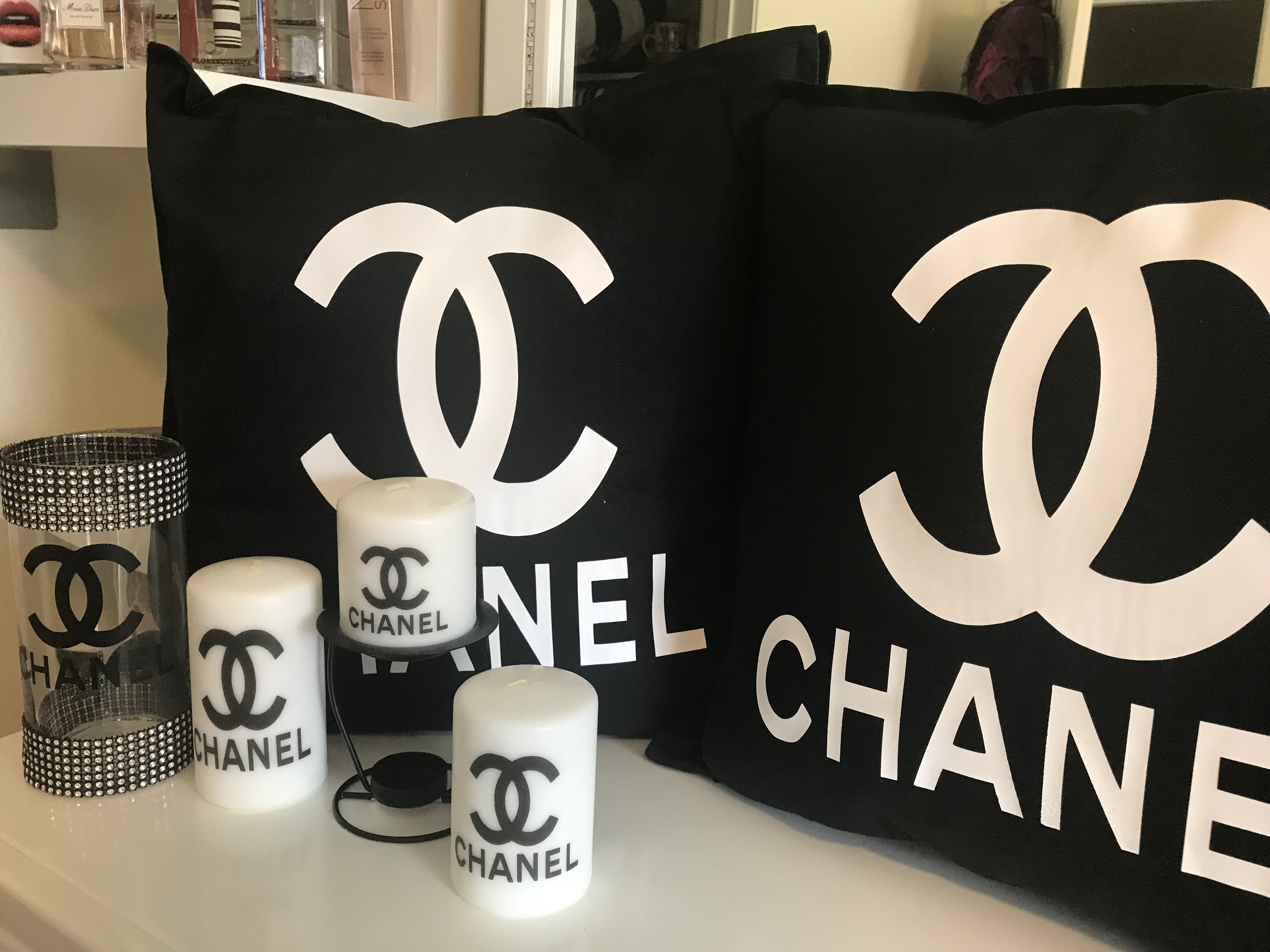 Chanel Home Decor Pillows And Candles Plus Vase Chanel Decor
