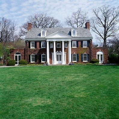 Dream home colonial red brick white pillars and black - Colonial house exterior renovation ideas ...
