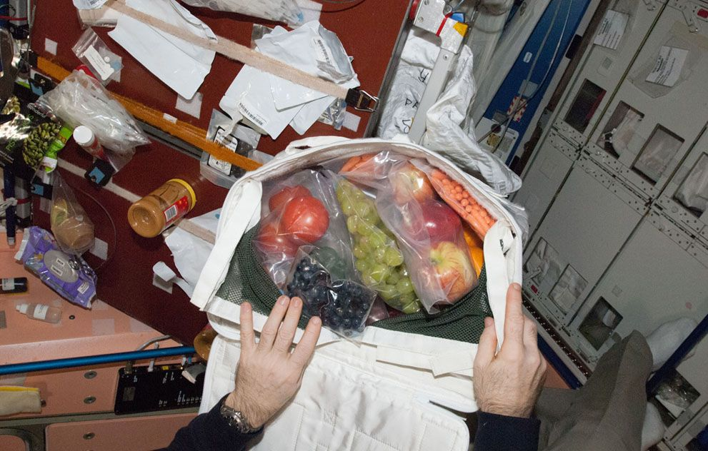 FRESH!!!The hands of Expedition 34 Commander Kevin Ford, opening a bag revealing a highly welcomed shipment of fruit which was sent up from Earth a couple of days earlier and which arrived at the International Space Station on March 3, 2013.   It was just a very small portion of all the fresh supplies which arrived aboard the unmanned Space X Dragon spacecraft. https://www.facebook.com/NaturalHealthStore.US
