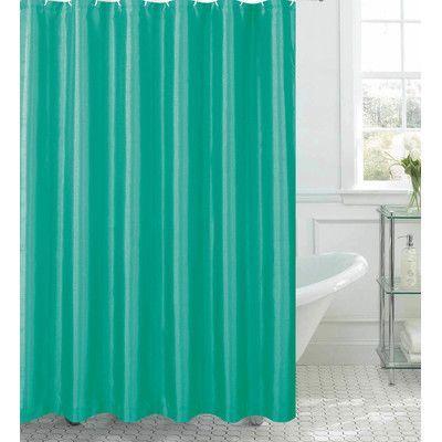 Bath Studio Faux Silk Shower Curtain Set Color Turquoise Shower