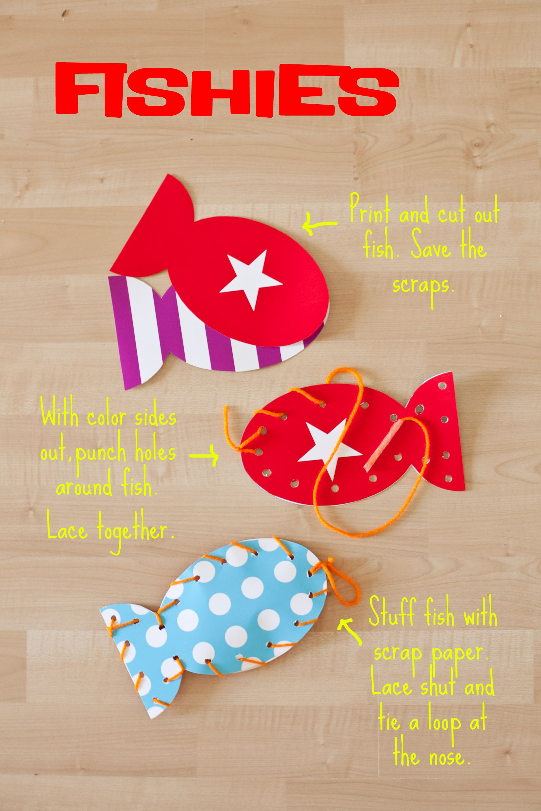 Fine motor- cutting, lacing, stuffing ABC's- label each fish with a letter 123's- label with a number Sight or spelling words