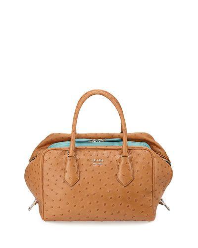 3eb2c2ee499a L0LA1 Prada Ostrich Medium Inside Bag, Tan   purses   Prada bag ...