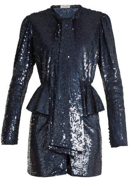 0dda0c983bad ATTICO Luna Peplum Waist Sequin Embellished Mini Dress - Womens - Blue Multi