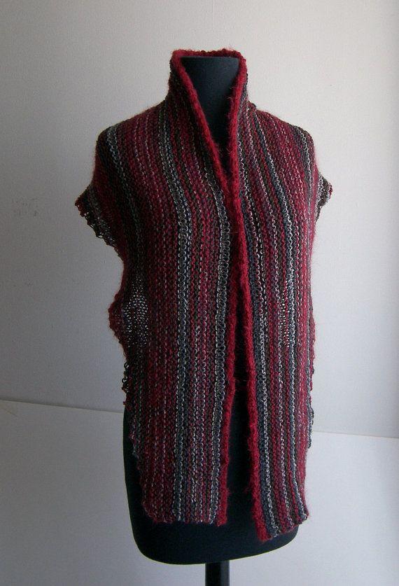 Hand Knit Shoulder Shawl Scarf Cowl Wrap, Stylish Comfort Prayer Meditation, Red Grey Multicolor