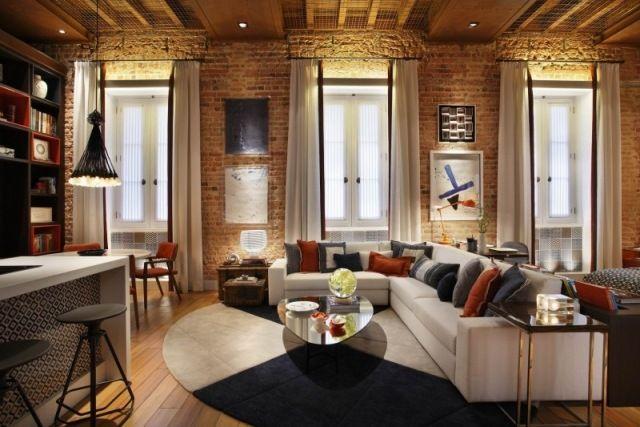 loft einrichtung wohnzimmer ziegelwände moderne möbel indirekte ...