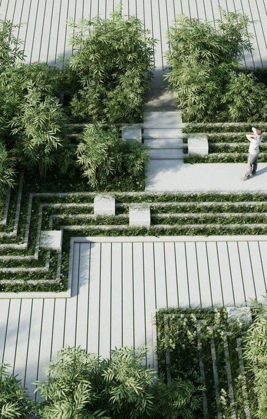 clevere Gestaltungsideen moderne Terrasse Begrünung Holz im Einsatz #landscapeplans
