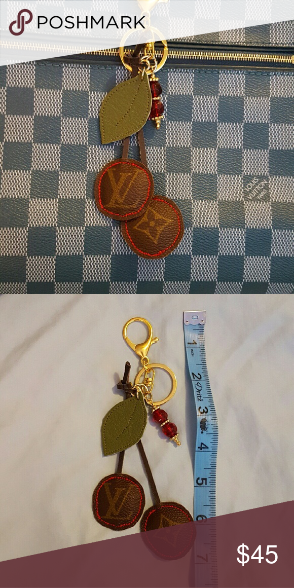 Cherries charm Handbag charm keychain upcycled from 100% authentic Louis Vuitton canvas.  LV canvas is used on both sides.  Check my closet for tassel and bead color options - gold alphabet letters are $5. I can also adjust the clip size if you prefer a smaller clip or just a key ring.  These are handmade with LoVe. www.UplovedLV.com Louis Vuitton Accessories