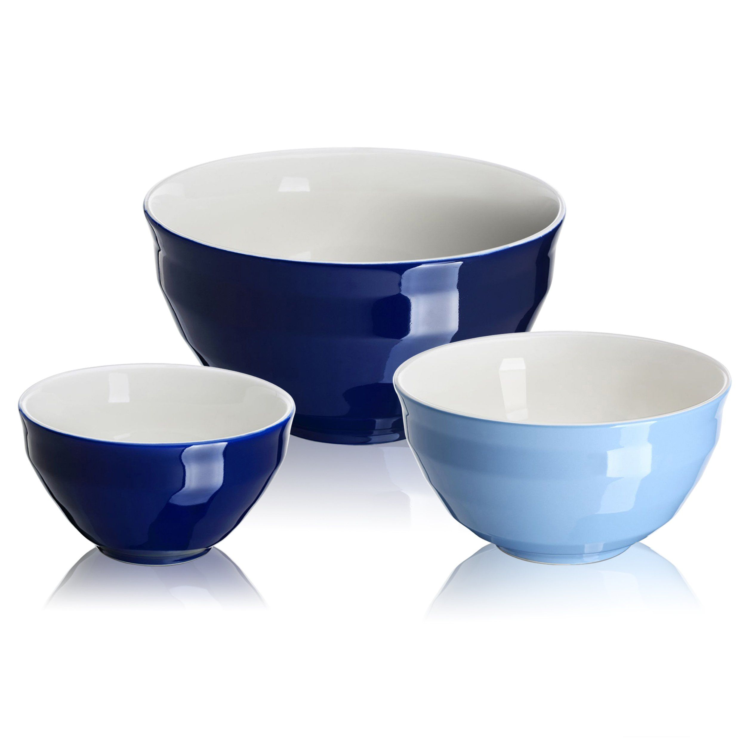 Dowan Ceramic Mixing Bowls Serving Bowl Set Nonslip Soft Curve On The Outside Design Of The Bowls 0 5 Qt 2 Qt 4 25 Qt Ceramic Mixing Bowls Mixing Bowls Bowl