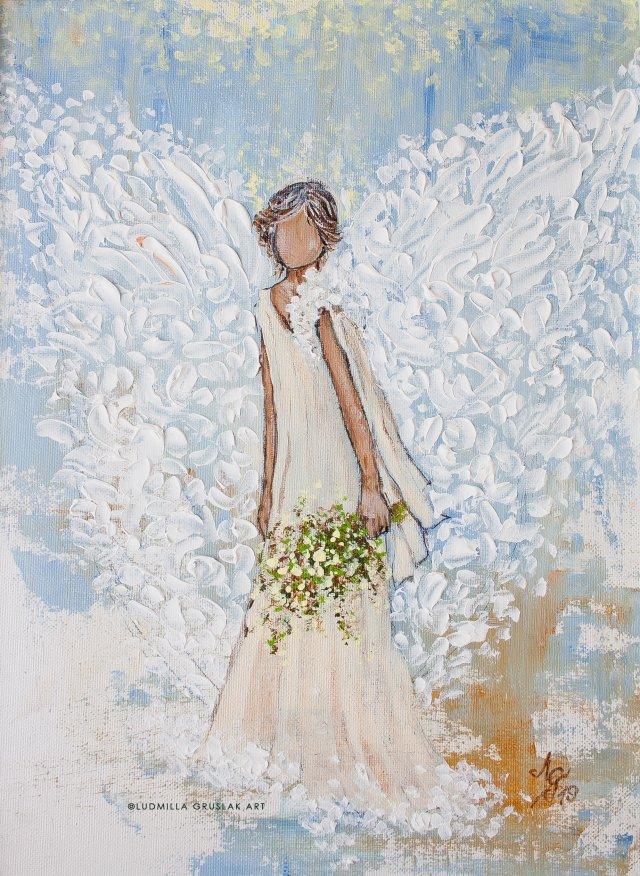 Angel Painting By Ludmilla Gruslak Guardian Angel Love Hope Comfort Engelbild Engel Abstract Angel Art Canvas En Angel Painting Angel Art Canvas Art