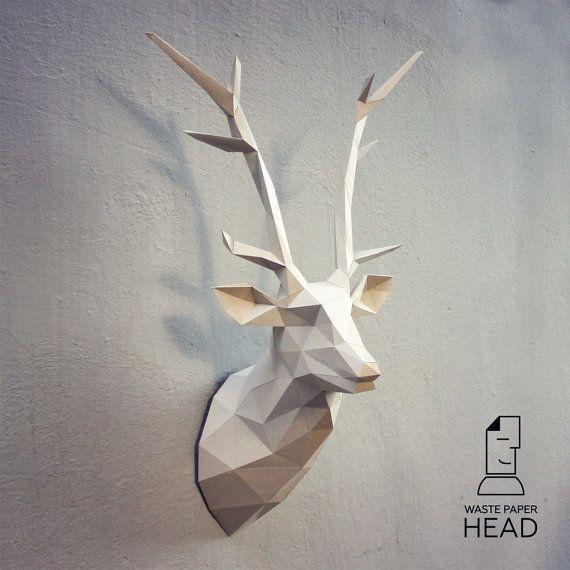 Papercraft deer head 1 - printable DIY template | evatje