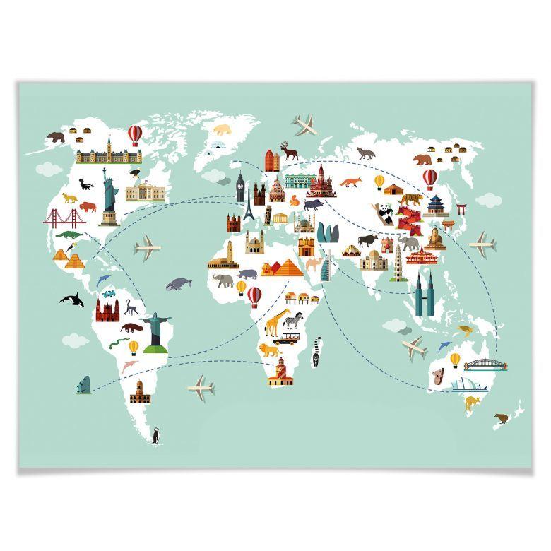 Cartina Mondo Per Viaggi.Poster Mappamondo Travel The World Wall Art It Carte Geografiche Mappe Illustrate Poster