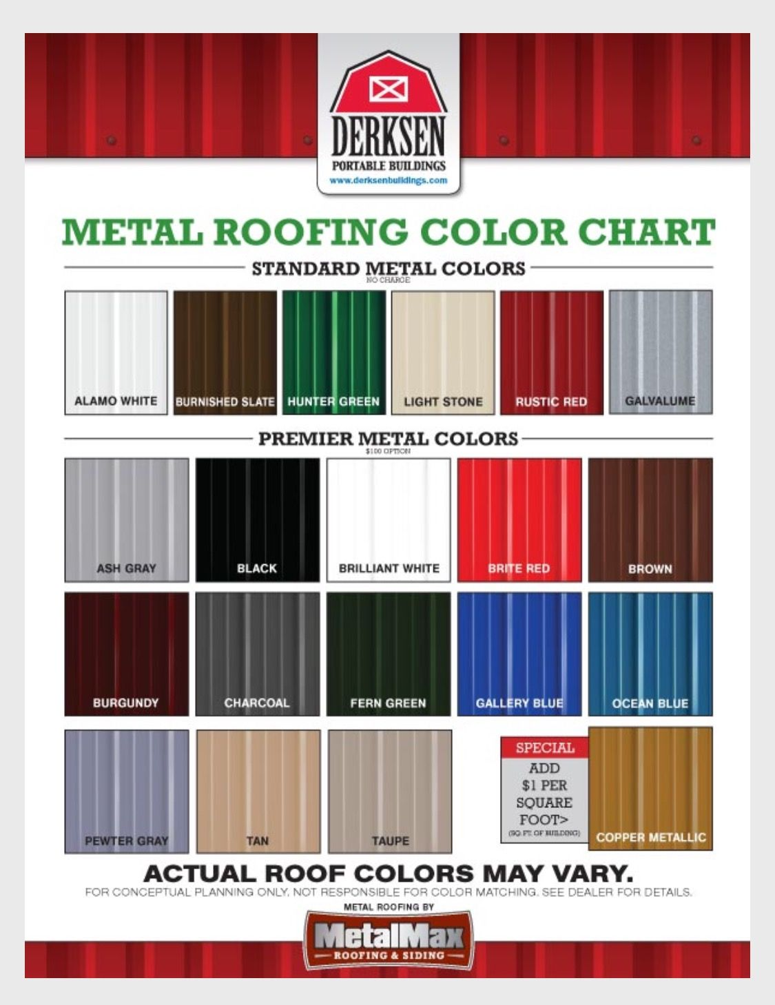 Derksen Metal Roof Colors For Barn Gazebo Or Tiny House Roof Colors Metal Roof Colors Roofing