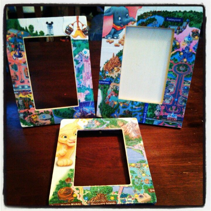 Handmade picture frames using Disney world maps! Just use mod podge ...