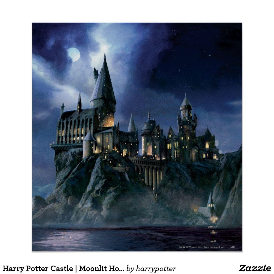 Harry Potter Castle Moonlit Hogwarts Poster Zazzle Com Harry Potter Castle Harry Potter Wall Harry Potter Hogwarts Castle