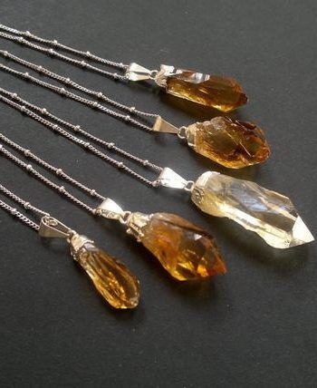 Photo of Citrine Necklaces for Sale – Raw Stone Necklace Raw Citrine Necklace Sate …