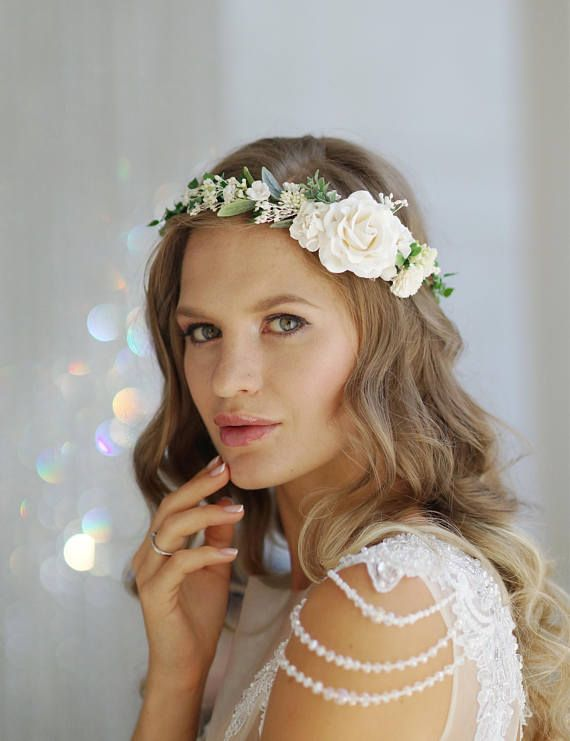 Flower Crown Made With Peony Magnolia Baby Breath Leafs Stems Lilies Roses Buttercups Berr Bridal Floral Crown Bridal Flower Crown Flower Crown Wedding