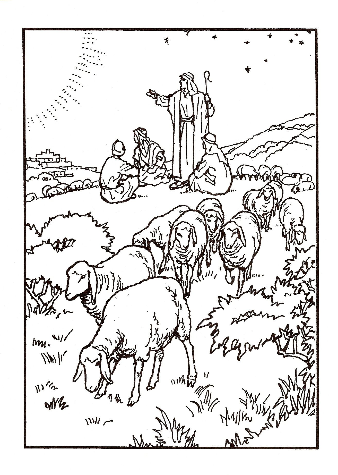 Shepherds watching their Flocks | Christian Coloring Pages-NT ...
