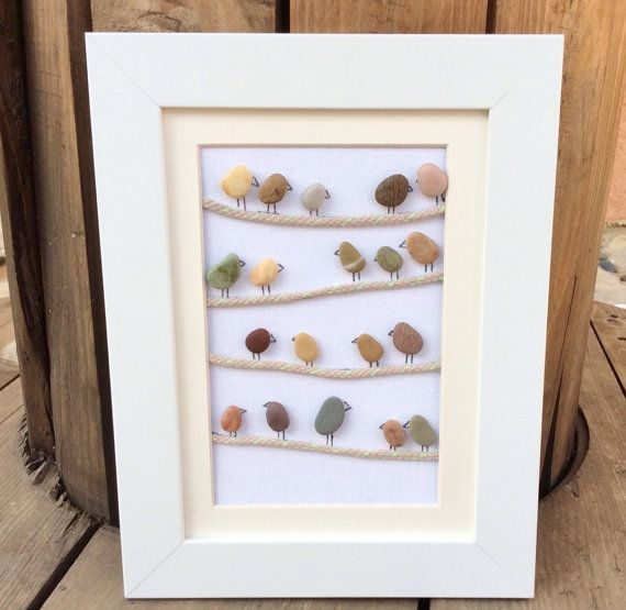 Birds On A Wire: Beach Pebble Picture in White Frame/Wall Art/Stone ...
