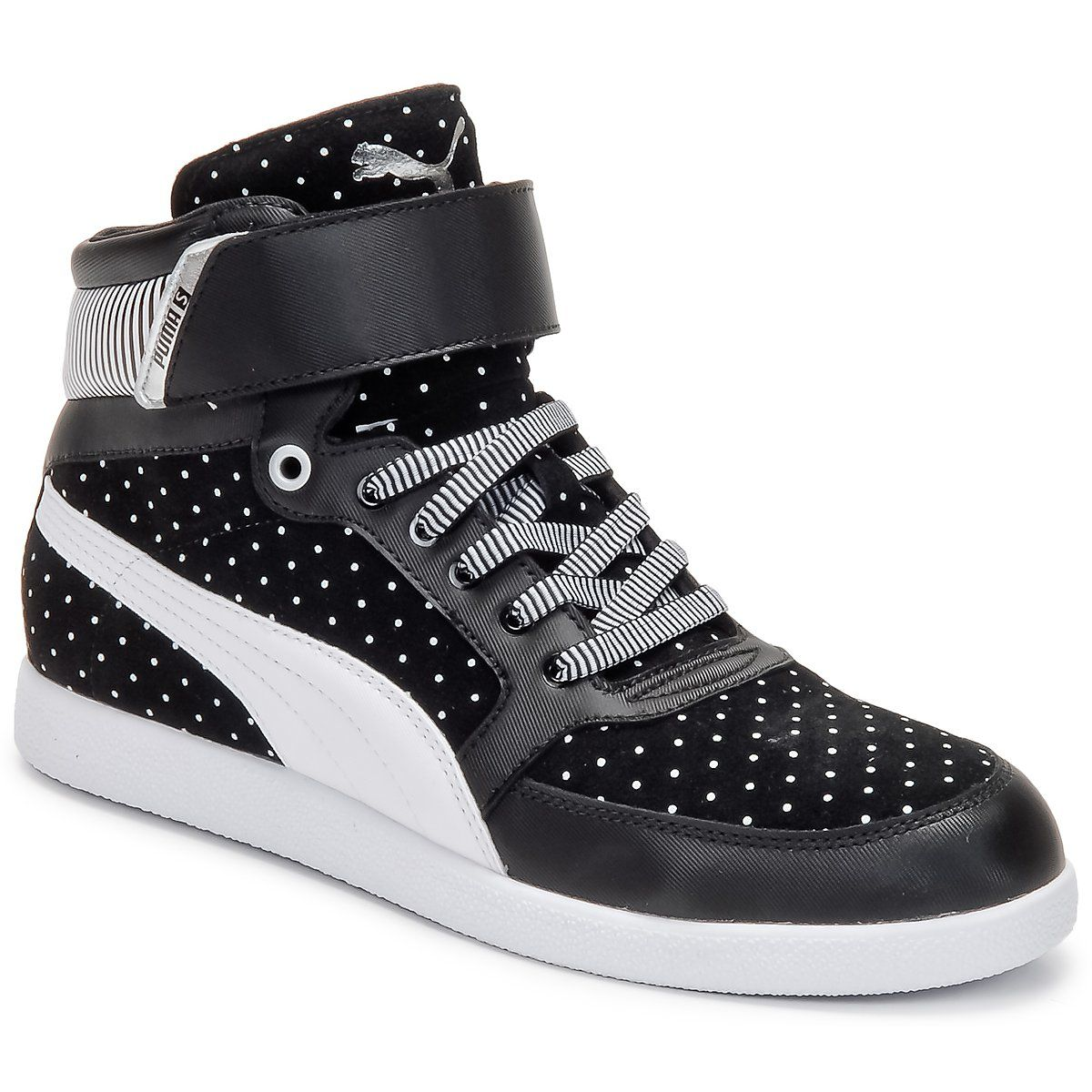 22f41911c7e5 Hi top trainers Puma SKYLAA HI POLKA DOT WNS BLACK   White   White - Free  Next Day Delivery with Rubbersole.co.uk ! - Shoes Women £ 46.74