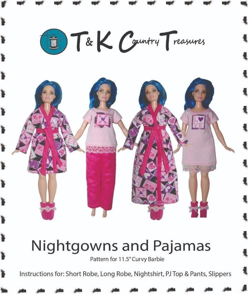e543e270177f8 Sewing Pattern for Curvy Barbie Fashionista Doll Clothes by TKCT Pajamas  Robe  TKCT