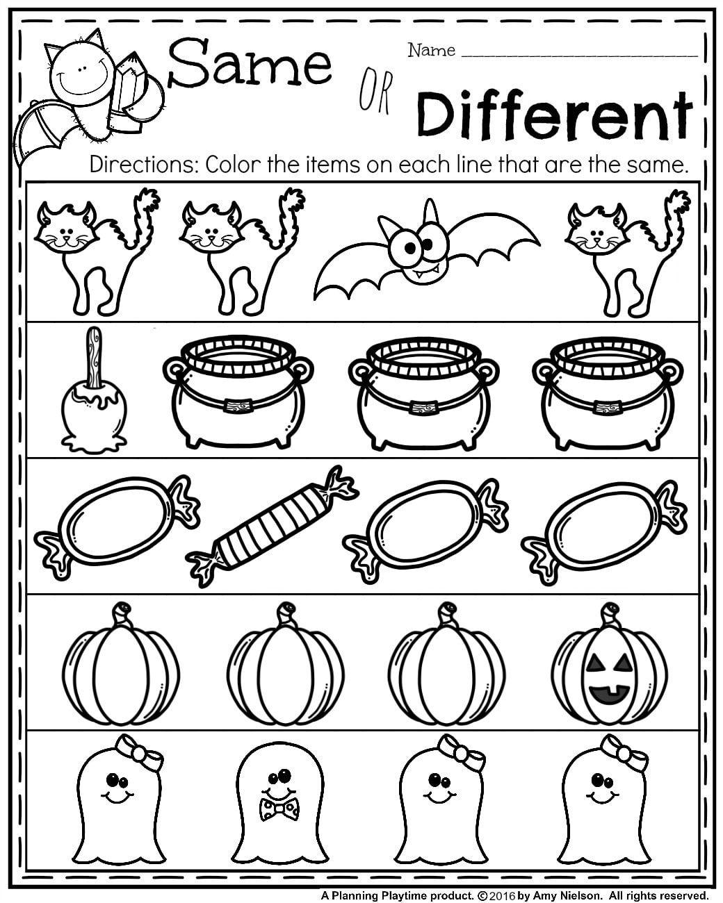 worksheet Same And Different Worksheets october preschool worksheets activities and school worksheets