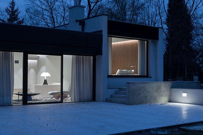 Maison moderne   Design contemporain   Façade de nuit   Architecte d - facade de maison moderne