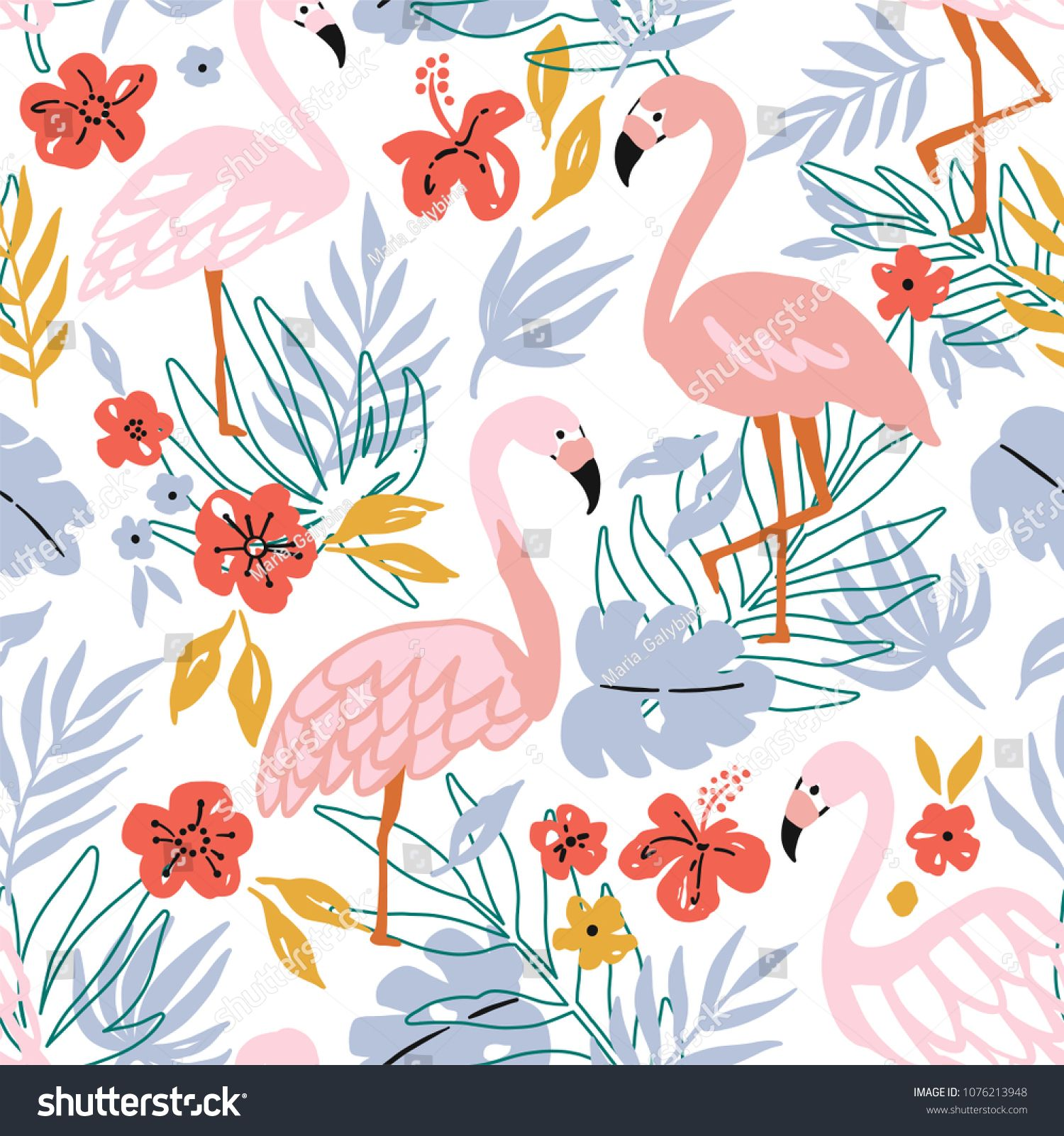 Flamingo Bird And Tropical Flowers Background Seamless Pattern Vector Sponsore Flower Backgrounds Seamless Pattern Vector Photographer Business Card Template