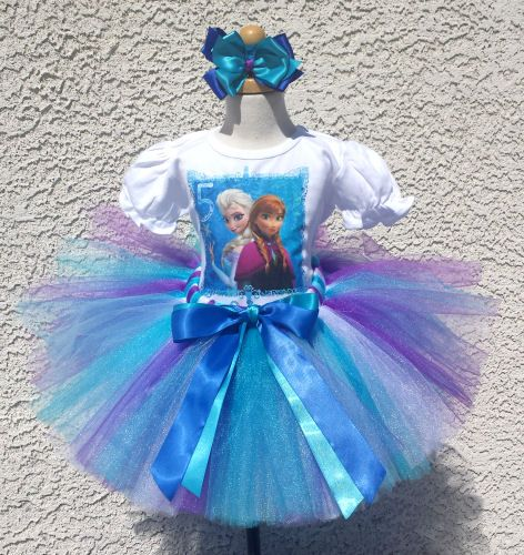 Frozen Elsa and Anna Personalized Blue White Birthday Tutu Outfit Dress Set