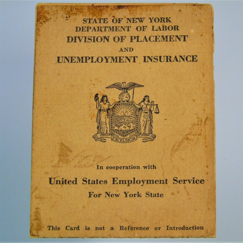 Vintage Wwii New York State 1945 Government Id Card Unemployment