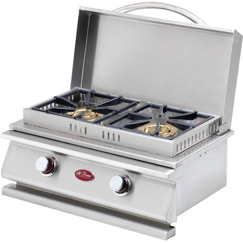 Cal Flame Deluxe Stainless Steel Built In Dual Fuel Gas Double Side Burner Cal Flame Built In Grill Outdoor Kitchen Design