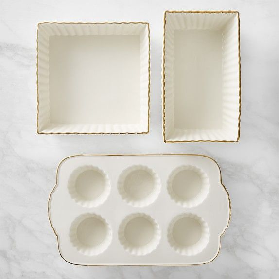 Williams Sonoma Gold Rimmed Ceramic 3 Piece Bakeware Set With