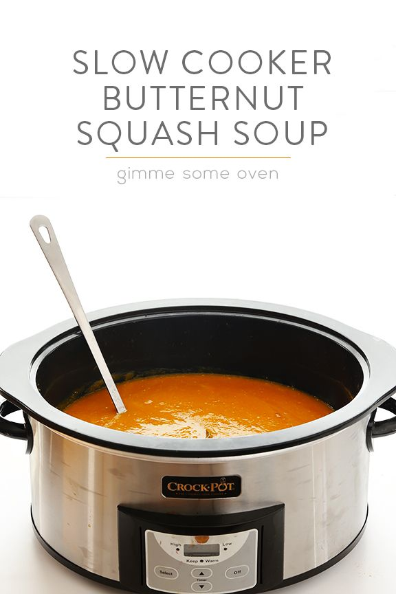 Slow Cooker Butternut Squash Soup -- easy to make, naturally vegan and gluten-free, and SO good! | gimmesomeoven.com