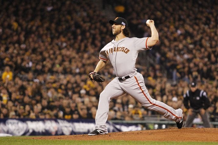 PITTSBURGH, PA - OCTOBER 01: Madison Bumgarner #40 of the San Francisco Giants pitches in the first inning against the Pittsburgh Pirates during the National League Wild Card game at PNC Park on October 1, 2014 in Pittsburgh, Pennsylvania. (Photo by Justin K. Aller/Getty Images)