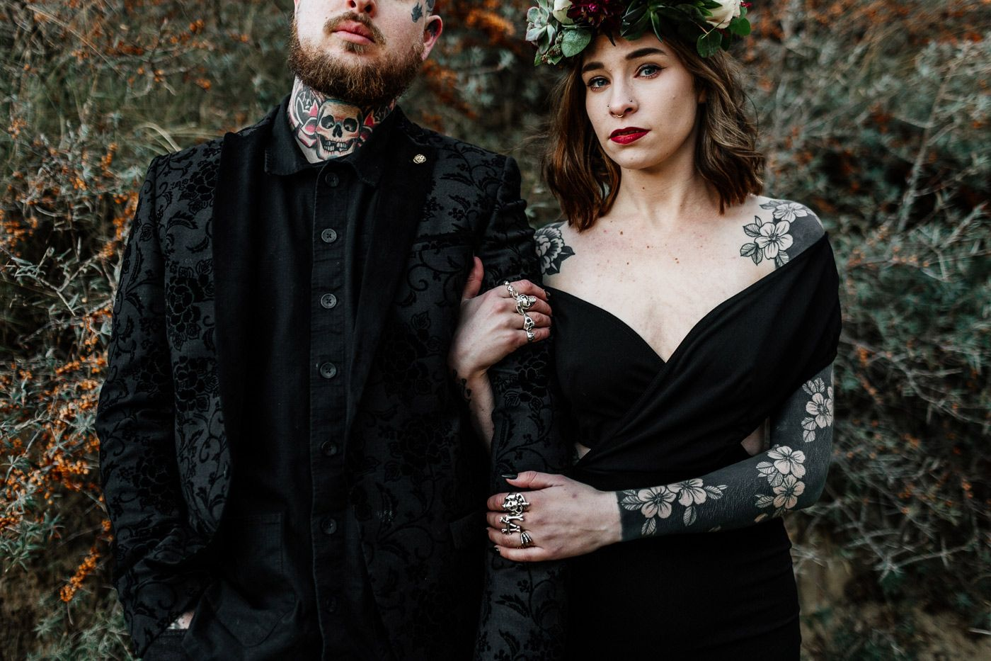 Moody Indie Gothic Wedding With Tattoo Couple And A Black Wedding