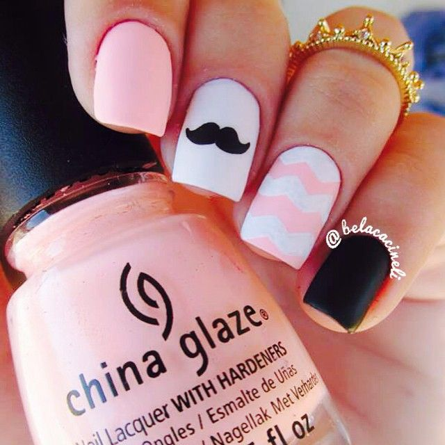 Mustage nail art. Chevron nail design. Peach, black and white nails ...