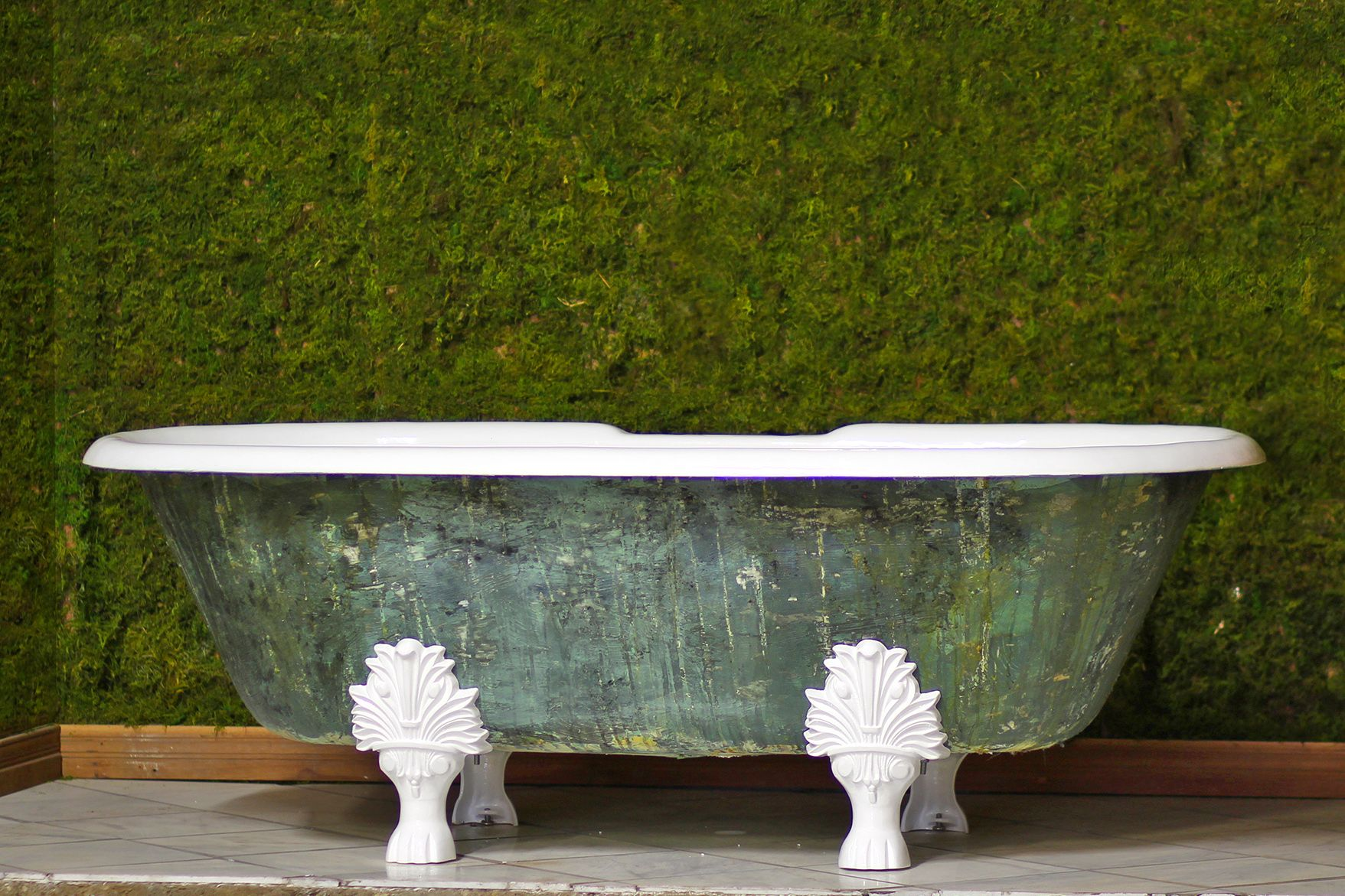 New Double Ended 72 Cast Iron Clawfoot Bathtub Trompe L Oeil