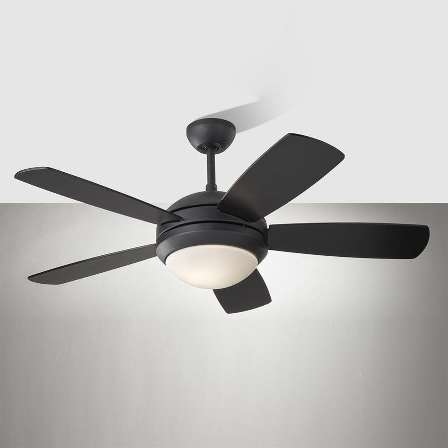 Monte Carlo Fan Company Discus Ii 44 In Matte Black Downrod Mount Indoor Ceiling Fan With Light Kit 5 Blade Ceiling Fan With Light Ceiling Fan Fan Light