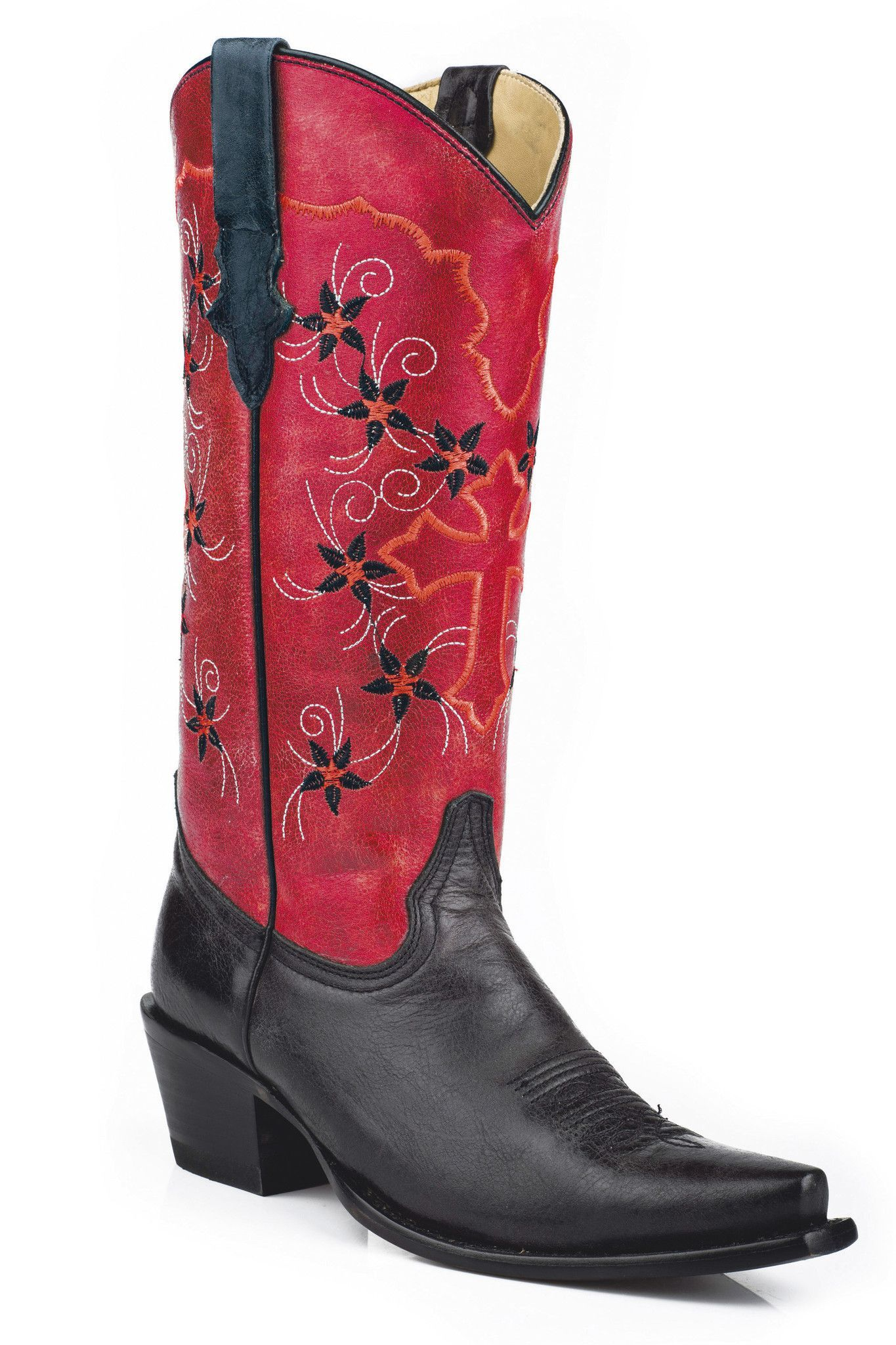 7b896902876 Stetson Ladies Fashion Snip Toe Boots Black Vamp Red Shaft With ...