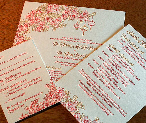 Mai's enchanting and light-hearted floral theme is beautiful in letterpress. It blends multicultural motifs of Vietnamese lanterns, Indian-inspired paisley, and blooming orchids. Perfect for couples who are planning an Asian-themed spring or summer wedding.