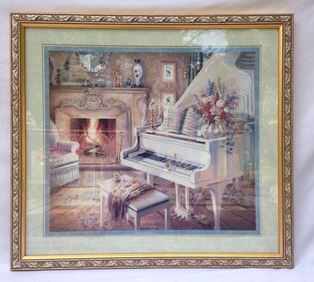 Large Homco Home Interiors Gold Framed Print Grand Piano Fireplace