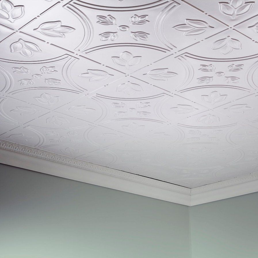 Traditional 5 2 ft x 4 ft glue up ceiling tile in matte white direct mount ceiling tiles dailygadgetfo Choice Image