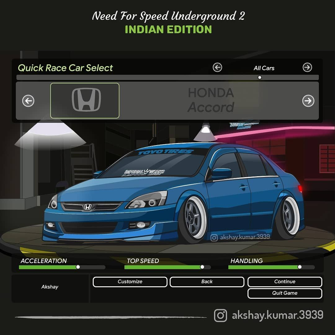 Honda Accord Vector Art Need For Speed Underground 2 Indian Edition