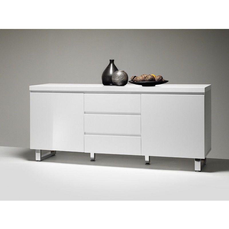 Buffet Bahut Moderne Blanc Laque Rodney Vivabita In 2020 White Sideboard Large Sideboard White Sideboard Buffet